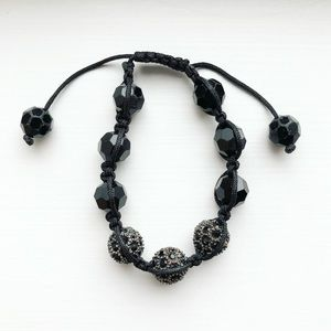 Black & charcoal gray shamballa bracelet